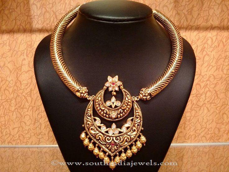 Gold Antique Uncut Diamond Necklace Designs.