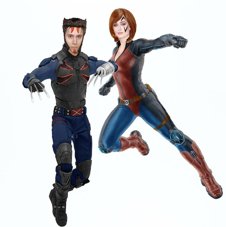 Erik García & Sophie Turner as Wolverine and Jean Grey in X-Men Apocalypse
