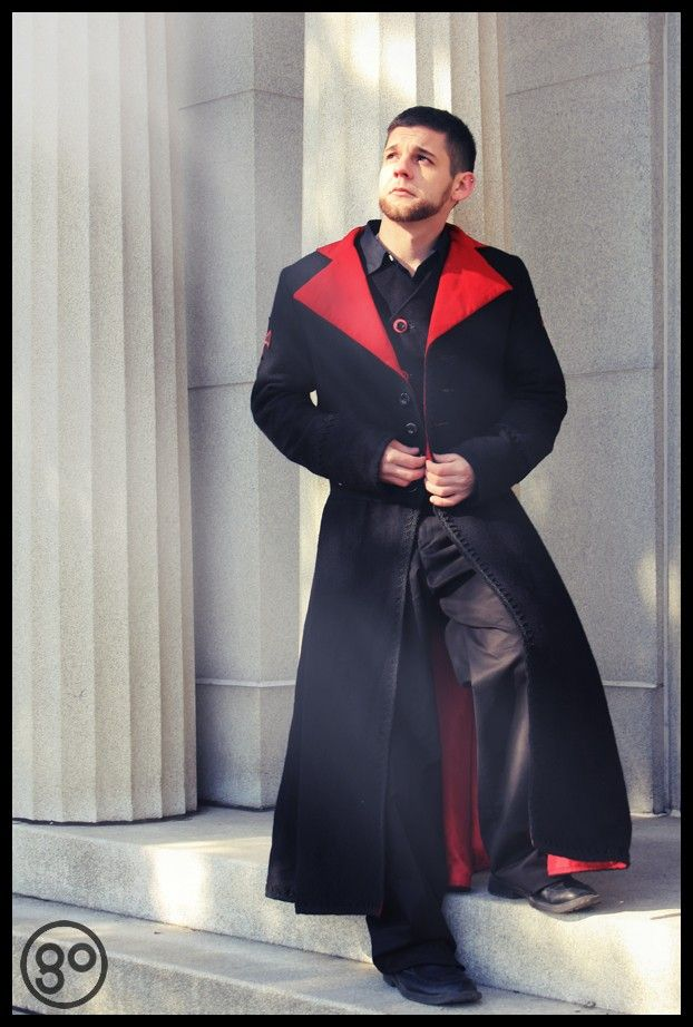 Men's Duster Gothic Coat Style Red and Black Vampire Inspired-Custom to your size. $395.00, via Etsy.