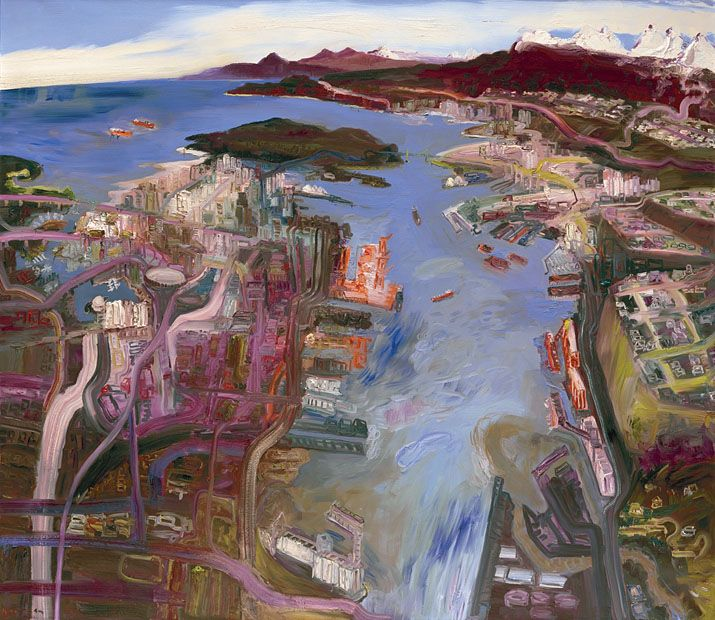 John Hartman. Vancouver from above Burrard Inlet, 2006, oil on linen, 78 x 90 inches
