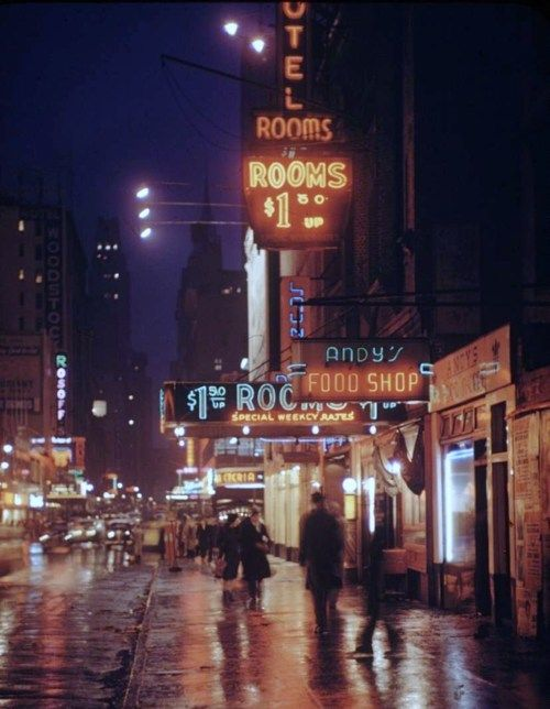 West 43rd Street near Times Square in the 1950s; photo by Andreas Feiningeer