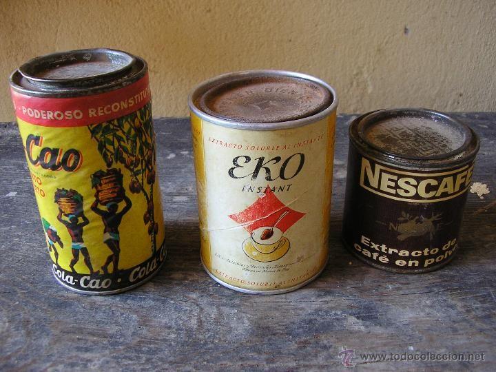 Antiguos botes de ColaCao, Eko y Nescafé