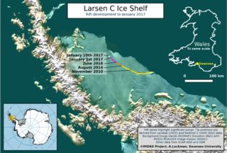 1/20/17 - Larsen ice crack continues to open up - BBC News