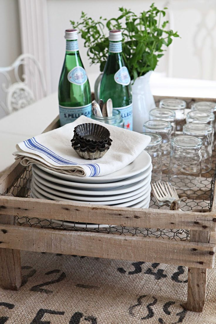 French drying rack, burlap, vintage glasses and linen towel