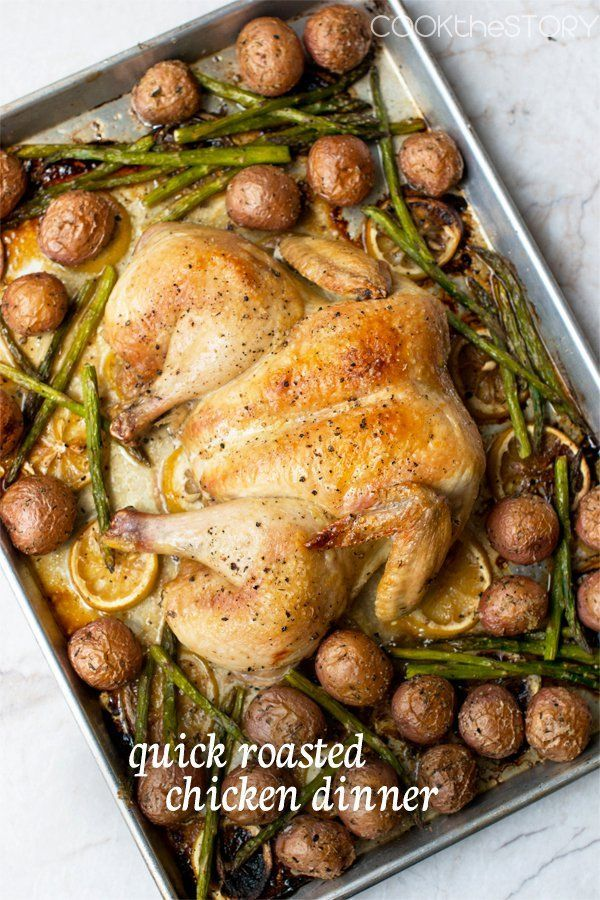 One-Pan Dinner Fave! The chicken for this dinner is spatchcocked (flattened out) so that it cooks more quickly. Roasted alongside potatoes. Asparagus added for the final bit of roasting for a complete one pan dinner. #roastedchicken #spatchcockedchicken #onepandinnerrecipe #cookthestory