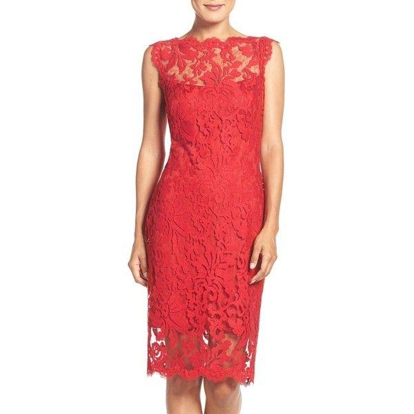 Women's Tadashi Shoji Embroidered Lace Sheath Dress ($268) ❤ liked on Polyvore featuring dresses, peppermint, sheath dress, lace dress, lace cap sleeve dress, red floral dresses and floral lace dress