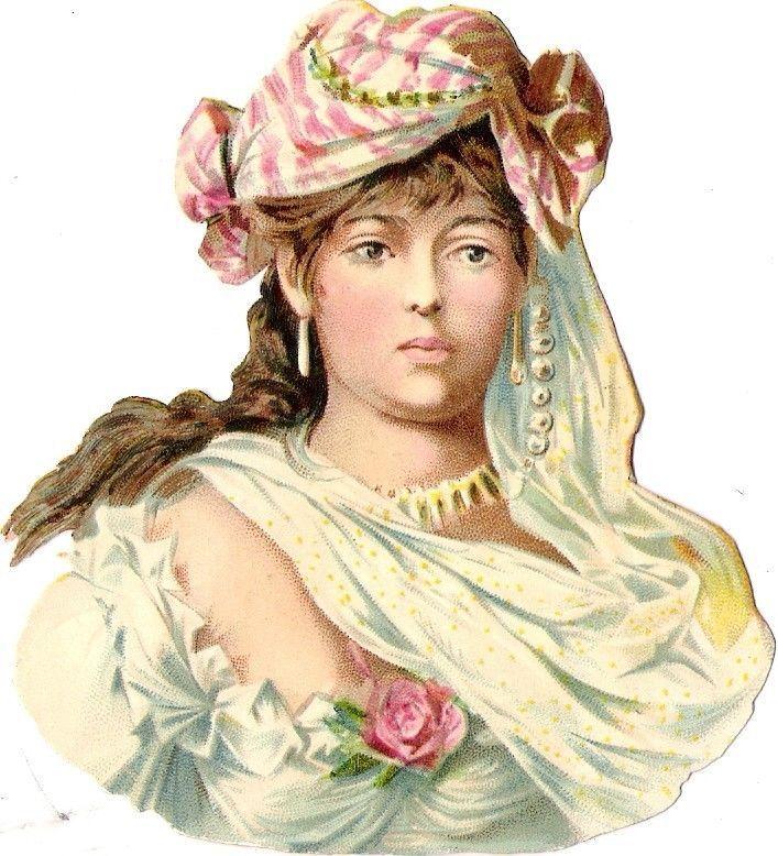 Oblaten Glanzbild scrap die cut chromo Dame 10cm lady femme buste portrait Frau: