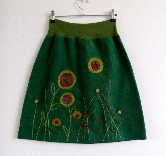 BOTTLE GREEN FIELD  with wild embroidered yarn by KrisztaKemeny, $84.00