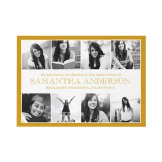 8 Photo Collage Graduation Invitation Gold invitation
