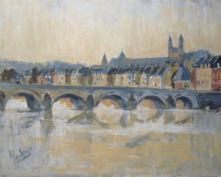 Saint Servaas Bridge in Maastricht, just after the morning fog. Acrylic on wood, 50 x 40 cm