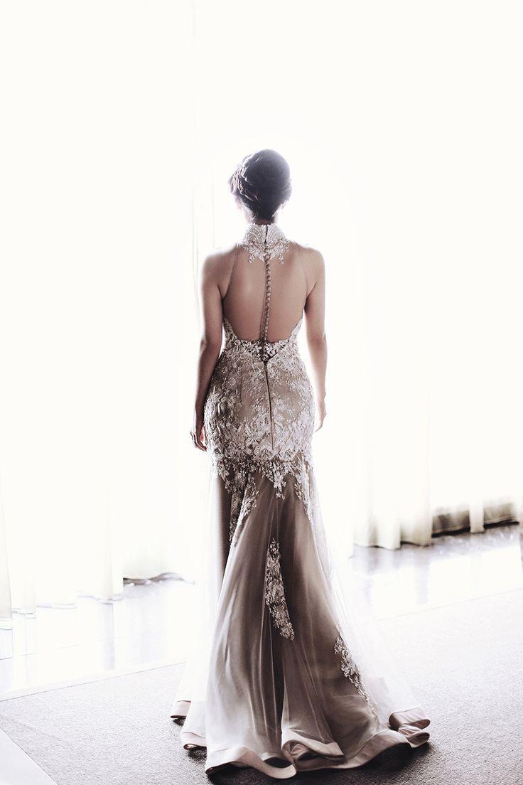 Elegant Monique Lhuillier illusion back cheongsam dress {Facebook and Instagram: The Wedding Scoop}