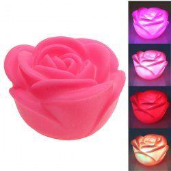 $1.41 Seven Color Changing Light Rose Shape Small LED Novelty Lamp (Deep Pink)