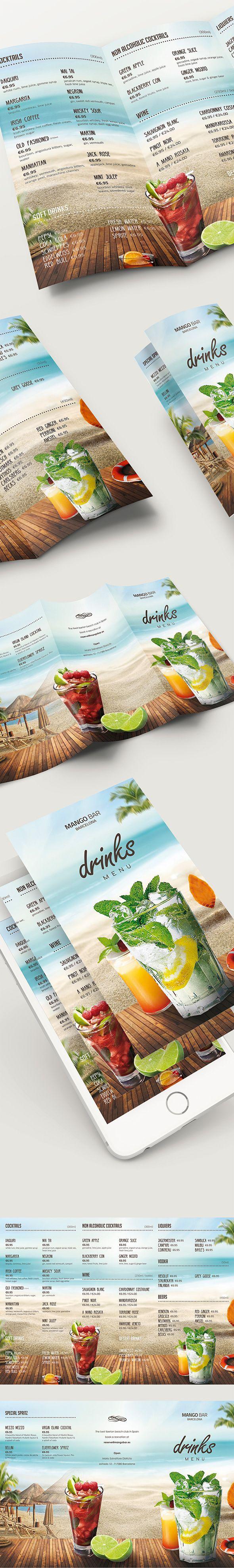 Beach Drinks Menu on Behance