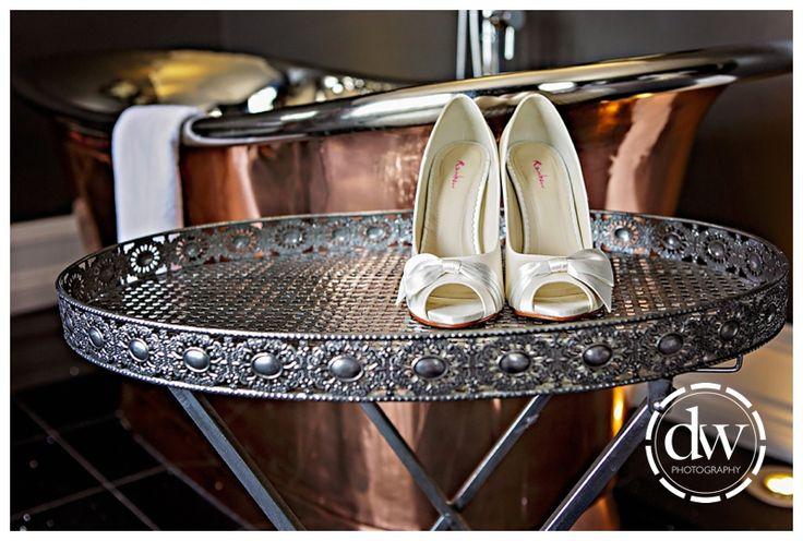 Brides wedding shoes at Paddocks House, Newmarket