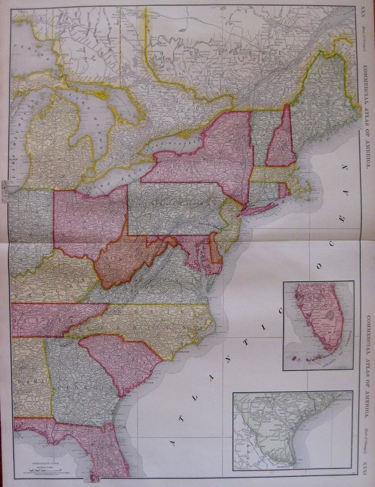 1921 Antique East Coast UNITED STATES Map