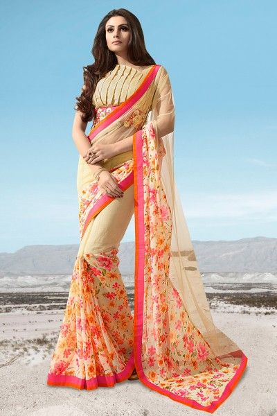 #Designer #PartyWear #jacquard And #Georgette Fabric #saree In #Cream Color