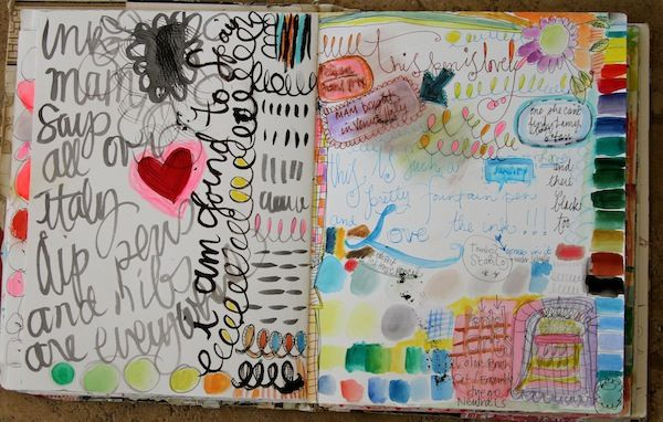 Pam Garrison's tryout and doodle art journal page.