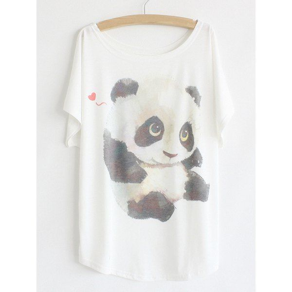 Cartoon Panda Print Loose-Fitting Color Block Batwing Sleeve T-Shirt For Women