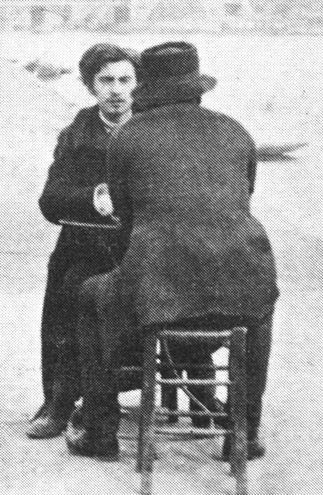 Emile Bernard & Vincent van Gogh, from behind, on the banks of the Seine, Paris. Vincent disliked photography