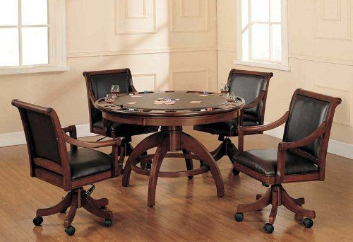 Add panache to your game room with Hillsdale Furniture's Palm Springs Game Table and Chairs. Finished in a medium brown cherry with brown leather seat cushions, this set combines comfort with casual living and functionality. With a transitional half-sphere base and a clean rectangle chair... more details available at https://furniture.bestselleroutlets.com/game-recreation-room-furniture/game-tables/product-review-for-hillsdale-palm-springs-game-table/