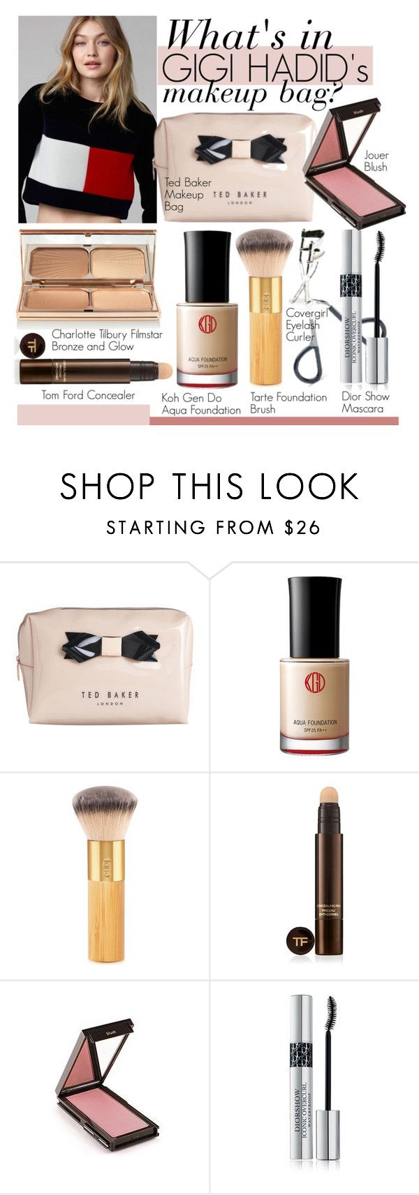 """""""INSIDE: Gigi Hadid's Makeup Bag"""" by eraining ❤ liked on Polyvore featuring beauty, Ted Baker, Koh Gen Do, tarte, Tom Ford, Jouer, Christian Dior, Charlotte Tilbury, makeup and gigihadid"""
