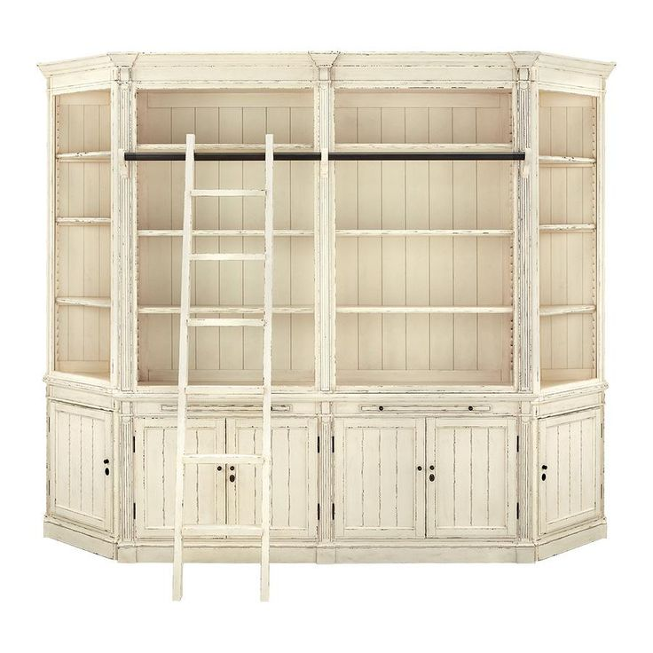 Athens Modular Library With 2 End Angled Bookcases In French White LibraryLiving Room