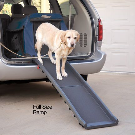Lightweight full size dog ramp weighs only 10 lbs and folds for easy storage.
