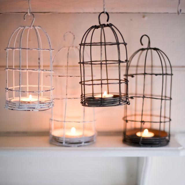 DISTRESSED WIRE BIRD CAGE TEALIGHT LANTERN – THE HOUSE JAR
