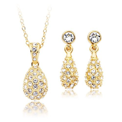 Heloise Crystal Pave Earrings Pendant Set Gold Plated