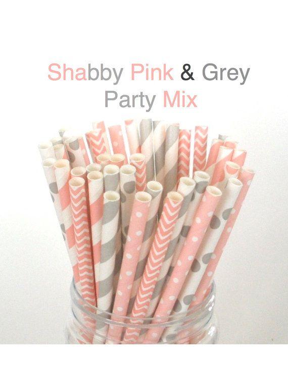 Paper Straws Pastel Pink & Grey Mix Paper Drinking Straws Cake Pop Sticks Mason Jar Paper Straws Wedding, Birthdays