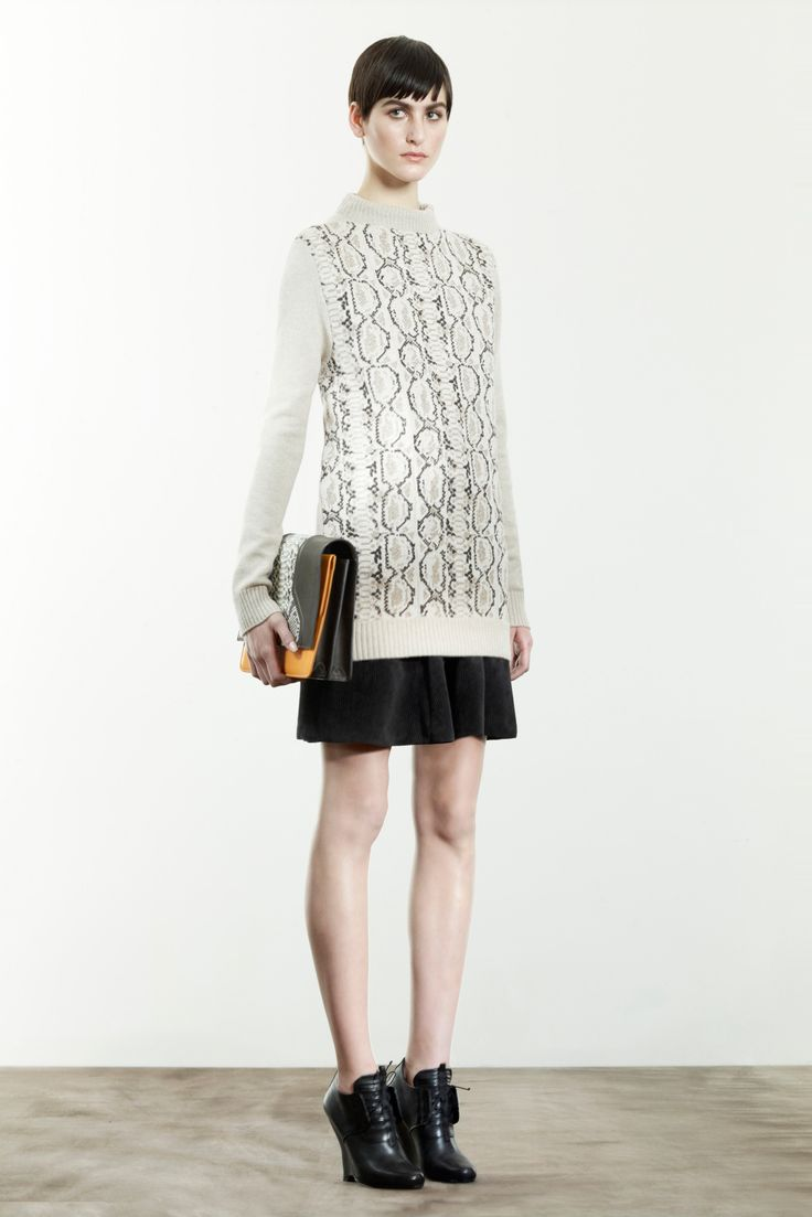 The almost snake like texture of this knit shows the breadth of jacquard knitwear. It is almost 3D in intricacy.  Damir Doma prefall 2013 Credit: style.com