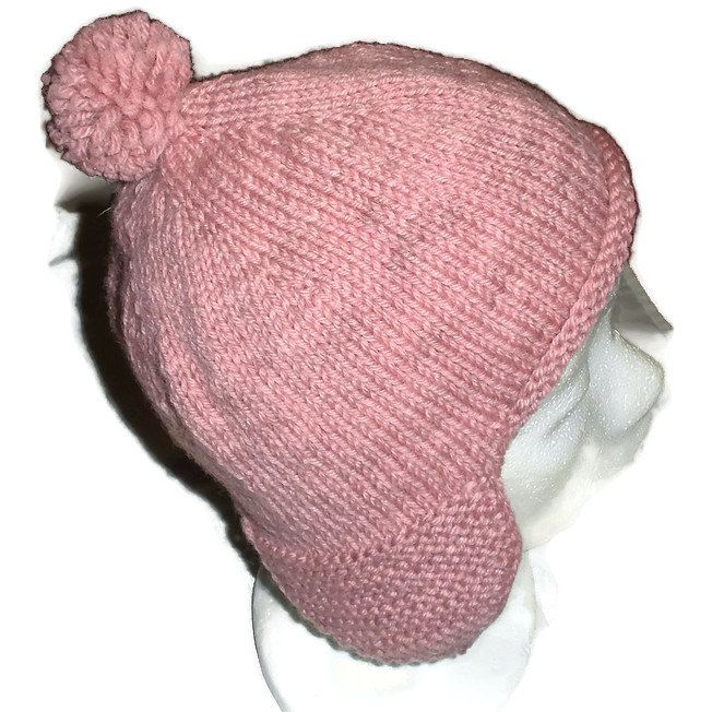 Warm, Fancy and Soft Hand Knitted Ear Flap Hat, Handmade in Hand Dyed Wool, Earflap Hat for Teens and Women, Dusty Pink Earflap Hat
