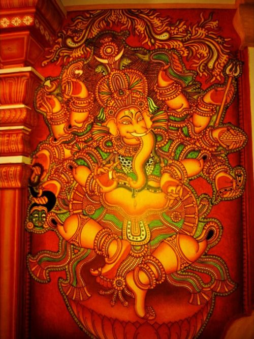 Dancing Ganesha Kerala Mural Painting, Artist: Navin P B from Kerala (via indsie.com)