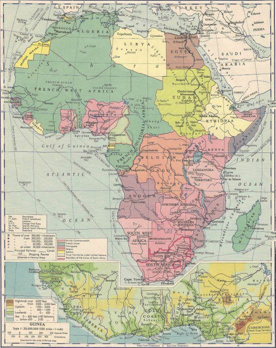 Colonial Africa Political Map 1950 travel adventure maps for home
