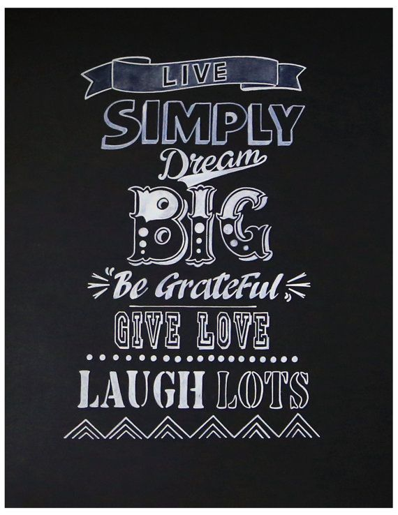 Chalkboard Art Print, Hand Lettering, Love, Family, Room Display, Motivation, Passion, Hard Work, Calligraphy