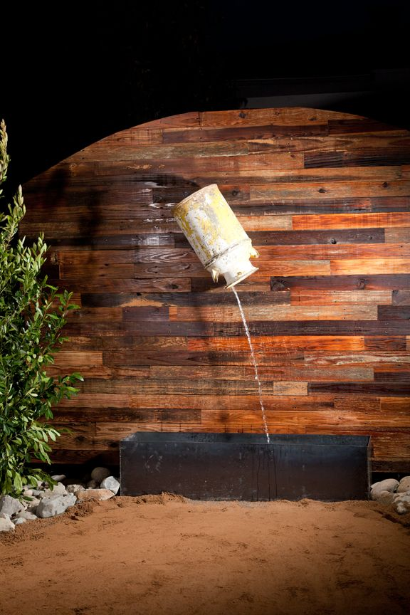 Water feature made with a vintage milk jug and reclaimed wood for the wall  veneer. - 58 Best Wood Veneer Images On Pinterest