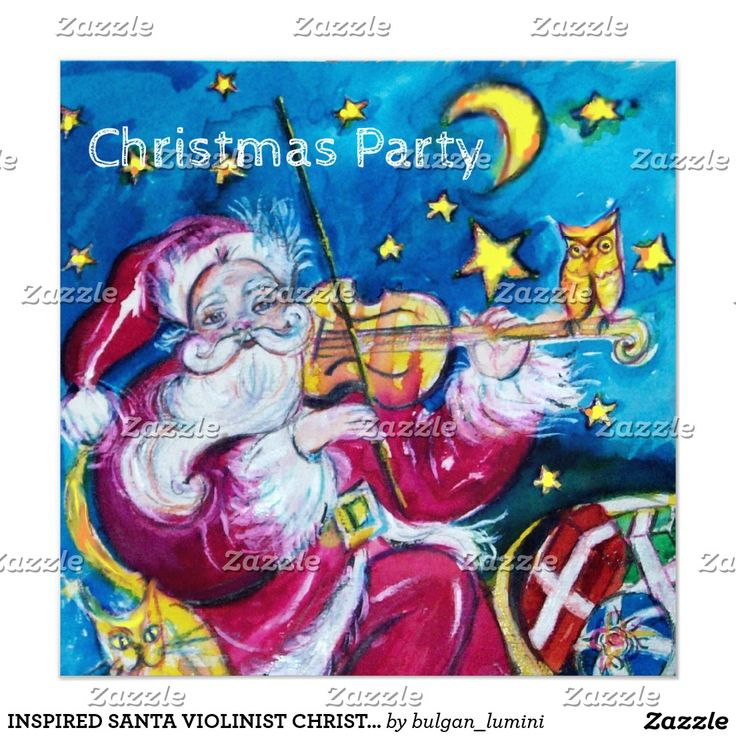 INSPIRED SANTA VIOLINIST CHRISTMAS PARTY INVITE by Bulgan Lumini (c) #music #invitations #events #violin #xmas #night #art #owl