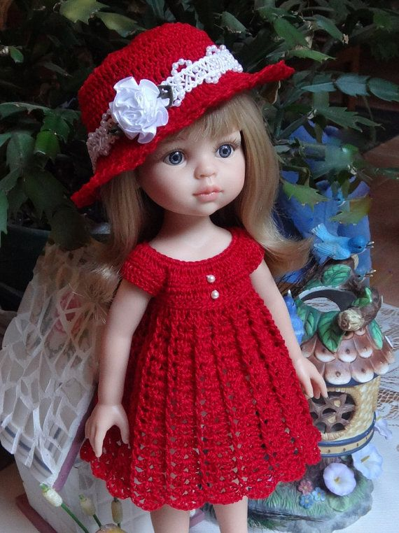 Crochet outfit Paola Reina 12 Corolle Les Cheries 13 14 inch doll Dress Hat…