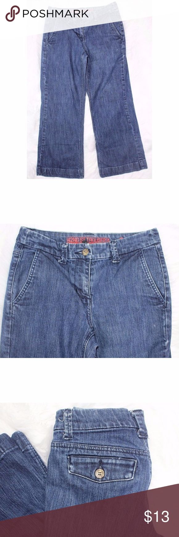 NEW YORK & COMPANY Womens Tall 42nd St Trouser Wid NEW YORK & COMPANY Womens Tall 42nd St Trouser Wide Flap Pockets Sz 2 D Crops Waist 14 1/2 Inches Inseam 25 Inches 98% Cotton 2% Spandex New York & Company Jeans Ankle & Cropped