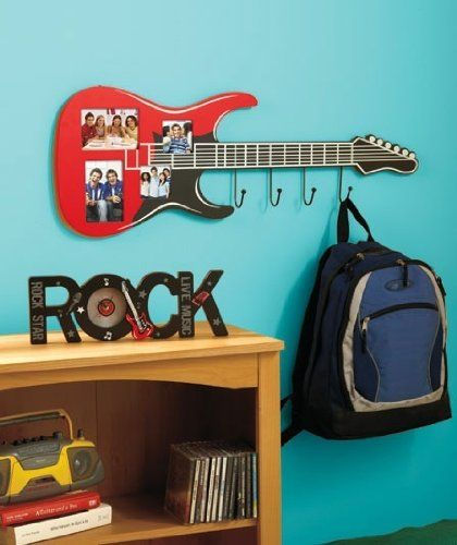 Guitar Coat Rack with Frame (Wooden with glass photo coverings) FAST SHIP