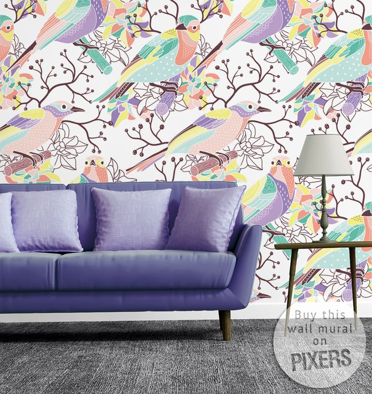 Seamless Floral Pattern With Birds Wall Mural U2022 Pixers® U2022 We Live To Change Part 43