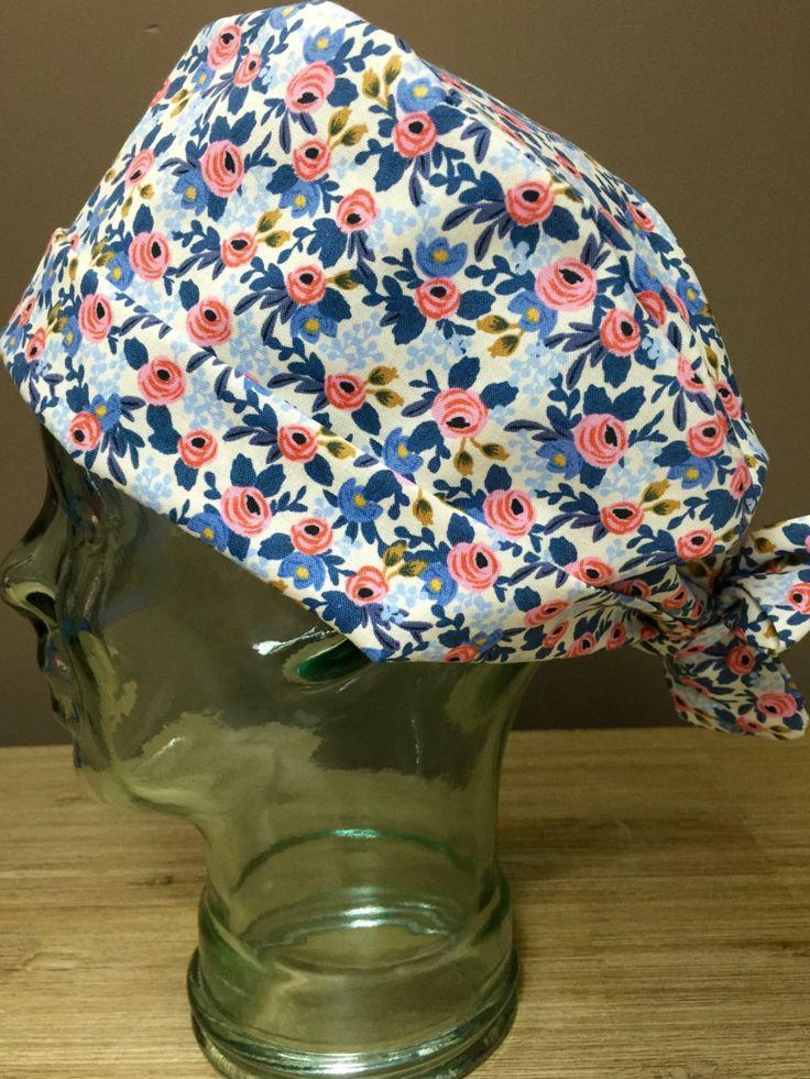 Petite Roses in Pink& Blue on Cream Surgical Scrub Hat, Women's Elegant Floral Scrub Cap, Custom Caps Company by CustomCapsCompany…