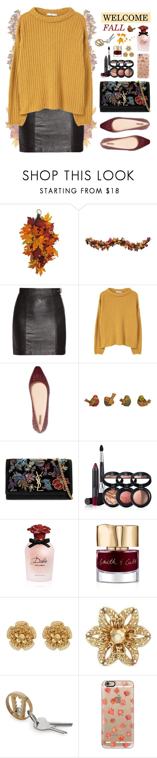 """""""🍃Welcome Fall🍂"""" by ealkhaldi ❤ liked on Polyvore featuring WALL, Improvements, Yves Saint Laurent, MANGO, Bottega Veneta, Laura Geller, Dolce&Gabbana, Smith & Cult, Miriam Haskell and Casetify"""
