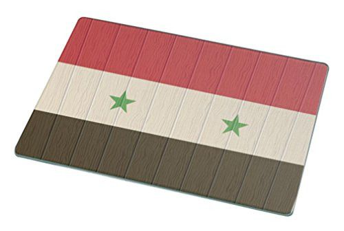 Rikki Knight Syria Flag on Distressed Wood Large Glass Cutting Board