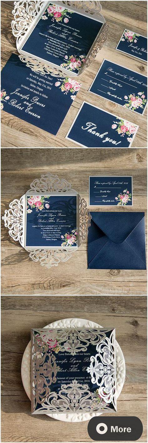 wedding renewal invitation ideas%0A Shabby chic navy blue and pink laser cut floral wedding invitations   ElegantWeddingInvites