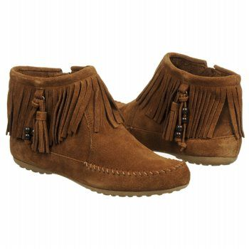 Trend watch: Fringe! Women's Minnetonka Moccasin Ashby Ankle Boot Dst Dusty Brown FamousFootwear.com