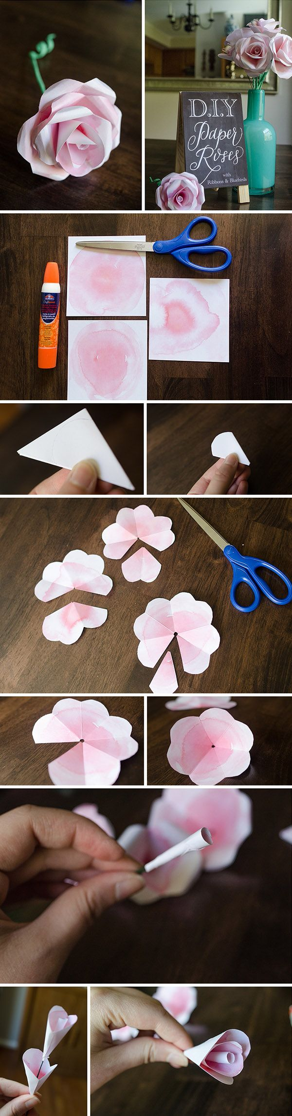 diy watercolor paper roses for wedding flower decorations