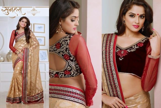 Superb Designer Party wear Beige Georgette Brasso Saree with Pallu and Contrast matching Dhupian Netted Blouse. Heavy work en-crafted all over.