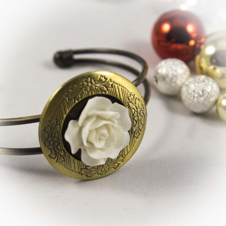 Legend of the Christmas Rose Cuff Bracelet Memory Locket 91827BSC by LaraBellaJewelry on Etsy
