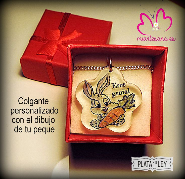 Colgante en Plata de Ley personalizado con el dibujo de tu  peque.  www.miartesana.es